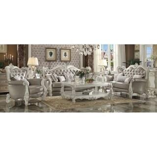 ACME Versailles Loveseat w/4 Pillows, Vintage Gray PU & Bone White