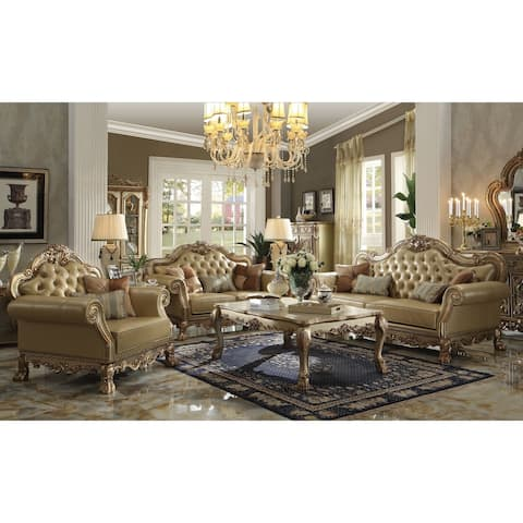 ACME Dresden Sofa w/4 Pillows, Bone PU & Gold Patina