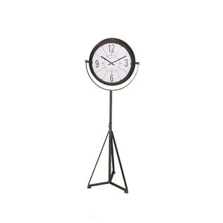 Rustically Classy Metal Clock On Floor Stand, Gray