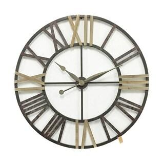 Oversized Metal Wall Clock, Brown