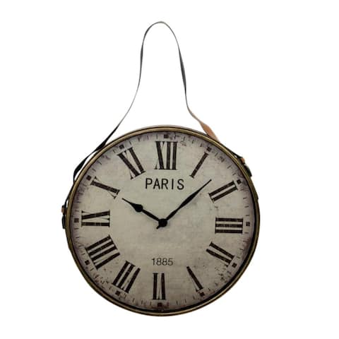 Vintage Style Metal Wall Clock, Gold