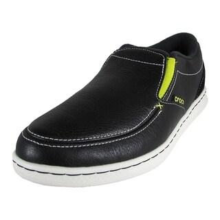 Crocs Mens Lopro Slip On Leather Sneaker Shoes, Black/White