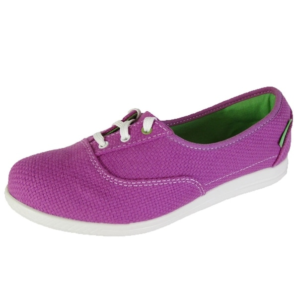 Crocs Womens Lopro Short Vamp Canvas Plim Sneaker Shoes, Viola/White