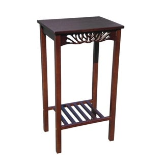 Offex Solid Kiln Dried Mahogany Tall Telephone End Table