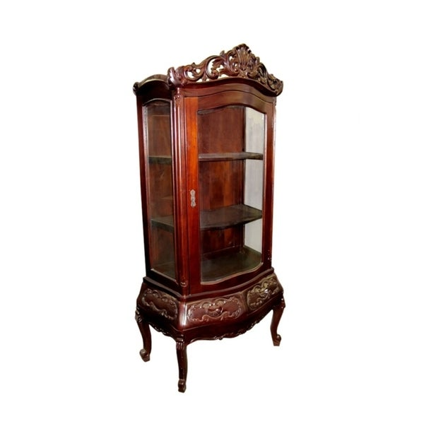 Offex Handmade Solid Mahogany Victorian Display Curio Cabinet