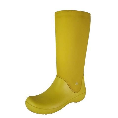 Crocs Womens RainFloe Waterproof Boot Shoes, Canary/Canary