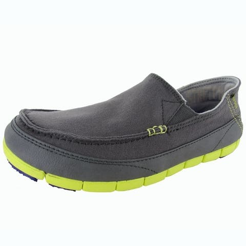 Crocs Mens Stretch Sole Slip On Loafer Shoes, Charcoal/Citrus