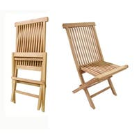Offex Solid Teak Crestwood Outdoor Folding Chair - Set of 2 Chairs