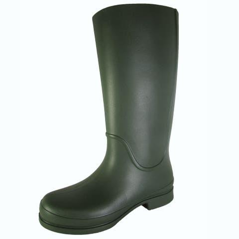 Crocs Womens Wellie Waterproof Rain Boot Shoes, Forest/Navy