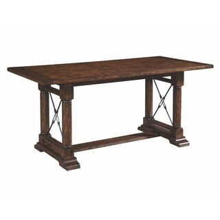 Broyhill Attic Rustic Oak Counter Height Trestle Table - Brown