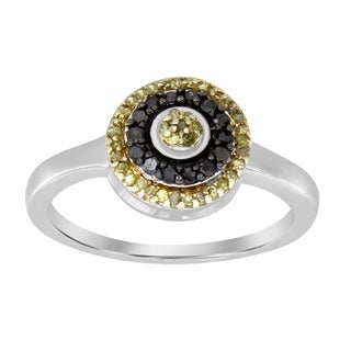 1/3 cttw Round Black & Yellow Diamond Ladies Halo Cluster Engagement Ring 925 Sterling Silver
