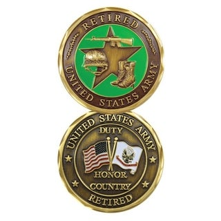 United States Army Retired USA And Army Flag Double Sided Collectible Military Challenge Coin