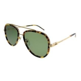 Marc Jacobs Aviator MARC 136/S LSH DJ Unisex Spotted Havana Frame Green Lens Sunglasses