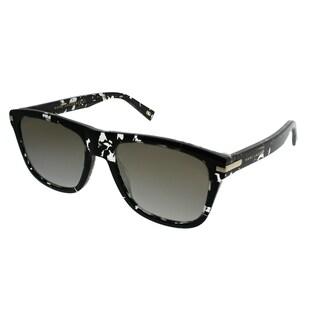 Marc Jacobs Rectangle MARC 185/s 9WZ 9F Unisex Crystal Black Havana Frame Gold Mirror Lens Sunglasses