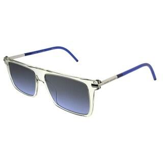 Marc Jacobs Rectangle MARC 46/S TMD Unisex Crystal Frame Blue Mirror Lens Sunglasses