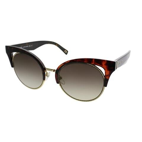 Marc Jacobs Cat-Eye MARC 215/S 086 Women Dark Havana Gold Frame Gold Mirror Lens Sunglasses