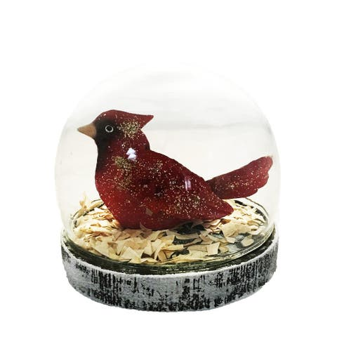 Glass Globe Small With Cardinal - 5 x 5 x 4