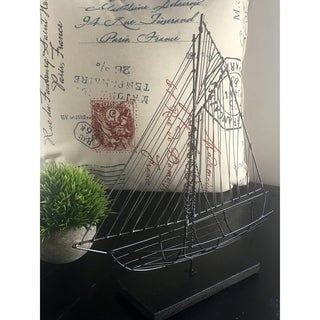 Wire Sailboat Black Sculpture