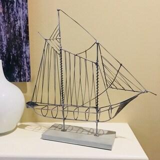 Wire Sailboat Gray Sculpture