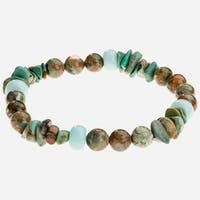 Tara Mesa Rhyolite, Amazonite  and African Turquoise Chips Stretch Bead Bracelet