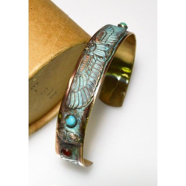 Handmade Patina Egyptian Motif Scarab Cuff Bracelet (USA). Opens flyout.