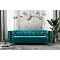 Rimini Contemporary Green Velvet/Wood/Lucite Sofa