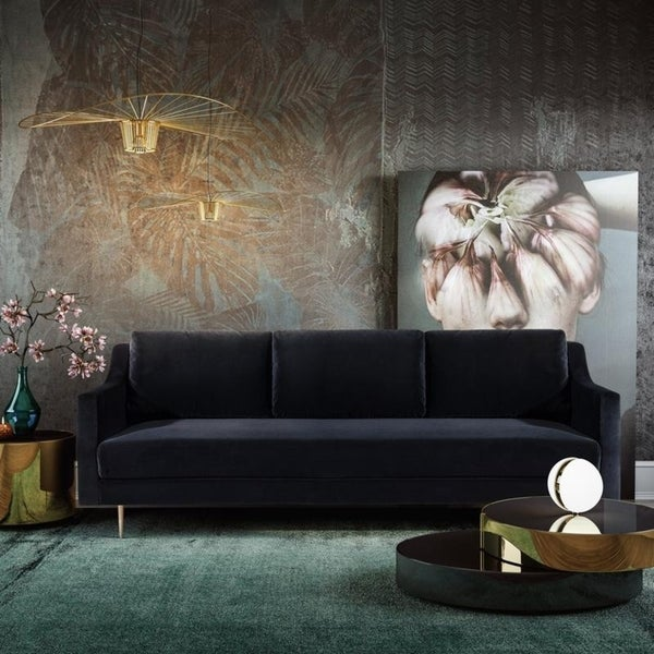 Shop Milan Black Velvet Sofa - Free Shipping Today - Overstock ...
