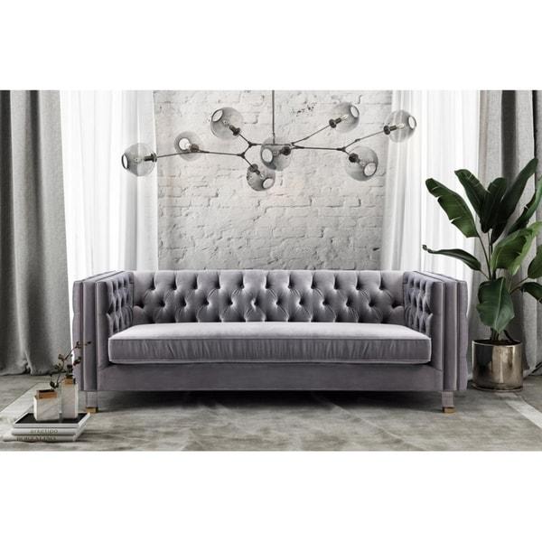 Fantastic Shop Rimini Grey Velvet Sofa Ships To Canada Overstock Home Interior And Landscaping Transignezvosmurscom