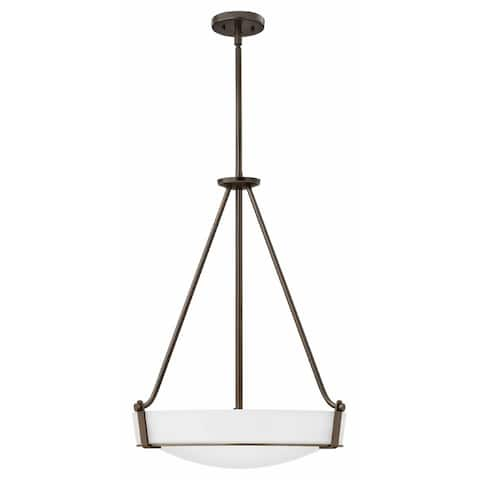 Hinkley Hathaway 4-Light Pendant in Olde Bronze with Etched White
