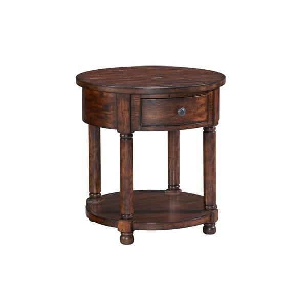Shop Broyhill Attic Rustic Oak Round End Table Free