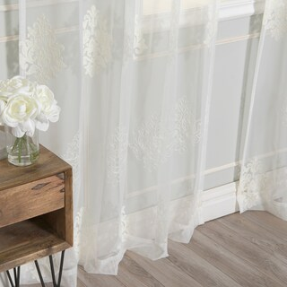 Aurora Home Sheer Damask Embroidery Curtain Panels (Set of 2)