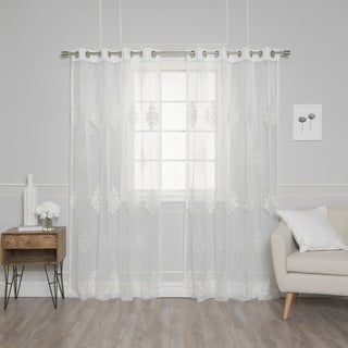 "Aurora Home Sheer Damask Embroidery Curtain Panel Pair - 52""W x 84""L"