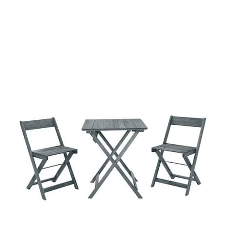 Seacrest Gray Three Piece Square Table Set