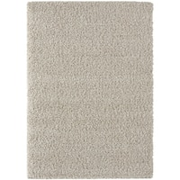 "Moroccan Shag Collection - Linen / Cream Solid Design Area Rug - 3'6"" x 5'"