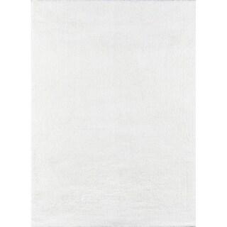 Momeni Velvet Shag Polyester Machine Made White Area Rug - 5' x 7'