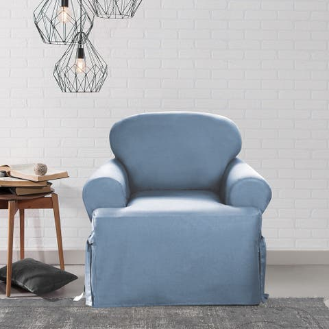 Sure Fit Cotton Classic T-cushion Chair Slipcover
