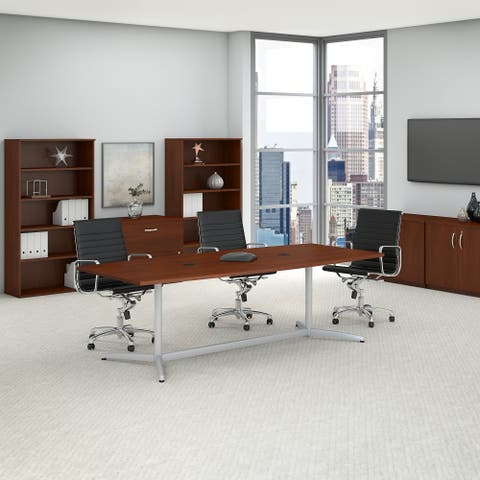 96W x 42D Boat Shaped Conference Table with Metal Base in Cherry