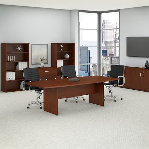 96W x 42D Boat Shaped Conference Table with Wood Base in Hansen Cherry