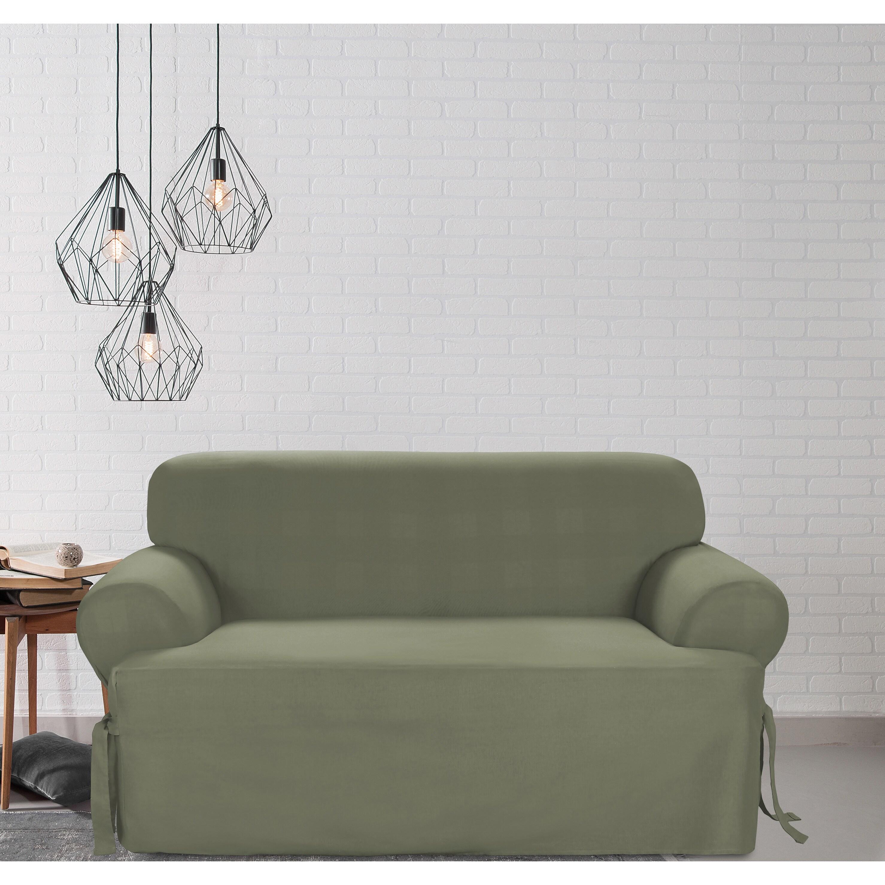 Fine Sure Fit Cotton Classic T Cushion Loveseat Slipcover Creativecarmelina Interior Chair Design Creativecarmelinacom