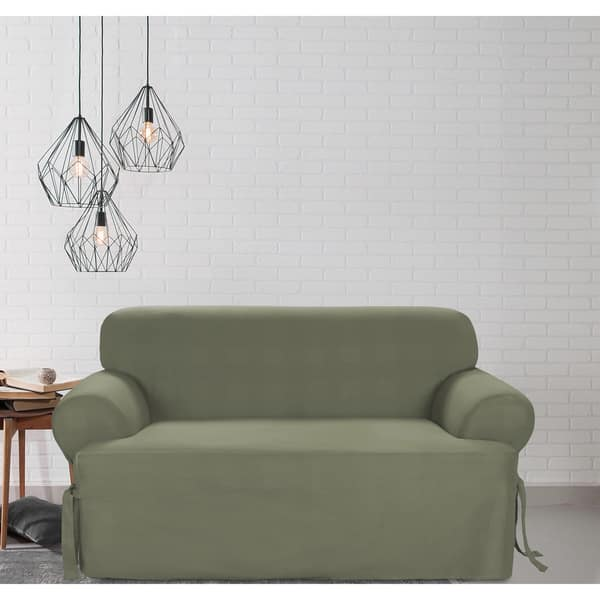 Prime Shop Sure Fit Cotton Classic T Cushion Loveseat Slipcover Short Links Chair Design For Home Short Linksinfo