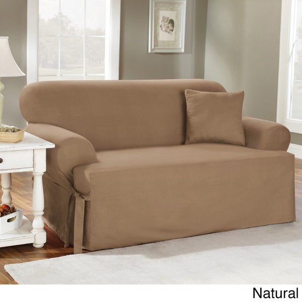 Sure Fit Cotton Classic T-Cushion Sofa Slipcover - Free Shipping Today -  Overstock.com - 10437876
