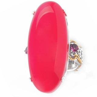Michael Valitutti Palladium Silver Raspberry Chalcedony & Rhodolite Elongated Ring
