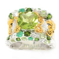 Michael Valitutti Palladium Silver Peridot & Multi-Gem Band Ring
