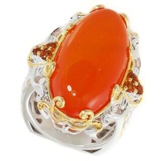 Michael Valitutti Palladium Silver Orange Chalcedony & Madeira Citrine Elongated Ring
