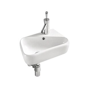 "Swiss Madison Ceramic 18"" Wall Mount Bathroom Sink with Overflow"