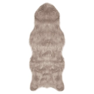 Jean Pierre Faux-Fur 22 x 60 in. Runner Area Rug - 1'10 x 5' (Option: Taupe/Grey)