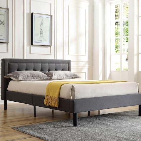 Classic Brands Mornington Upholstered Platform Bed-Metal Frame with Wood Slat Support