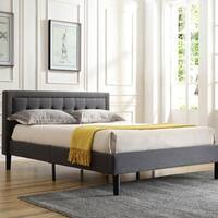 PostureLoft Mornington Upholstered Platform Bed-Metal Frame with Wood Slat Support