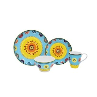 222 Fifth Caracas Blue 16-Piece Dinnerware Set