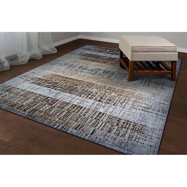 "Chapman Faded Stripes Ivory-Brown Area Rug - 3'11"" x 5'3"""